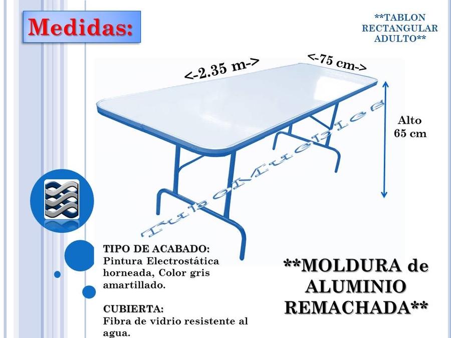 Tablones rectangulares para renta venta salones de fiesta et 1 en mercado libre - Cuanto cuesta cristal para mesa ...